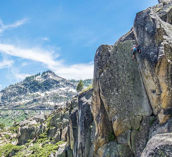 Sport and trad climbing on Donner Pass road.
