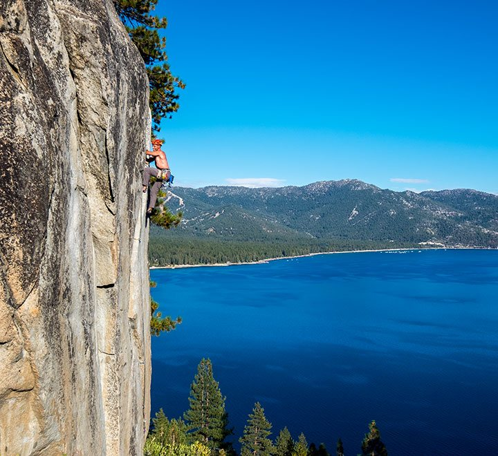 The rock climbing areas around Lake Tahoe's north shore. Crystal Bay, Trippy Rock, Ballbuster Rock and Spooner Crag