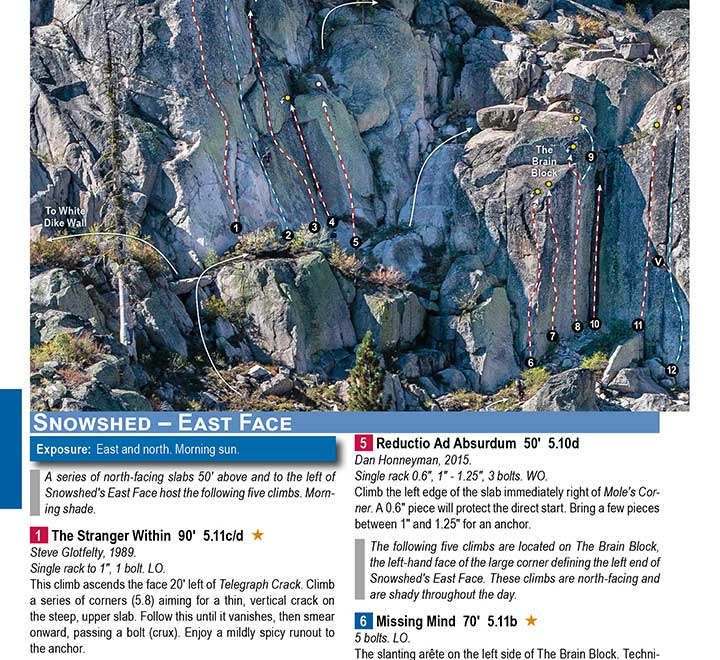 A topo of the climbing routes at Snowshed on Donner Summit. An excellent collection of sport and trad roadside rock climbs.