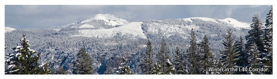 Winter near the Donner pass off I-80. Climbing can be found here is year round.